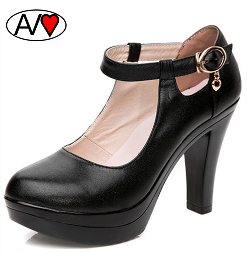 Fashion Top Quality Genuine Leather Buckle Women Pumps Thick Middle Heel Woman Work Shoes Black Large Size 41 42<br><br>Aliexpress