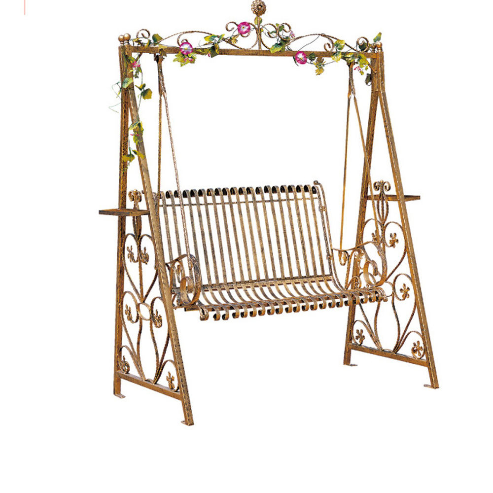 Wrought iron double swing outdoor rocking chairs hanging baskets Park Indoor