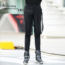 Buy Korean Men New net yarn stitching casual pants hairstylist black harem pants fashion Slim tide skirts singer stage costumes for $62.90 in AliExpress store