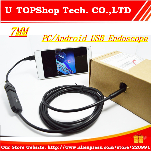 """7MM 2M Focus Camera Lens USB Cable Waterproof 6 LED Android Endoscope 1/9"""" CMOS Mini USB Endoscope Inspection Camera Mirror GIFT(China (Mainland))"""