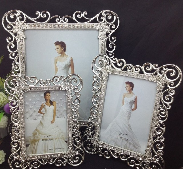 sided rectangle metal wedding frames silver box modern picture frame