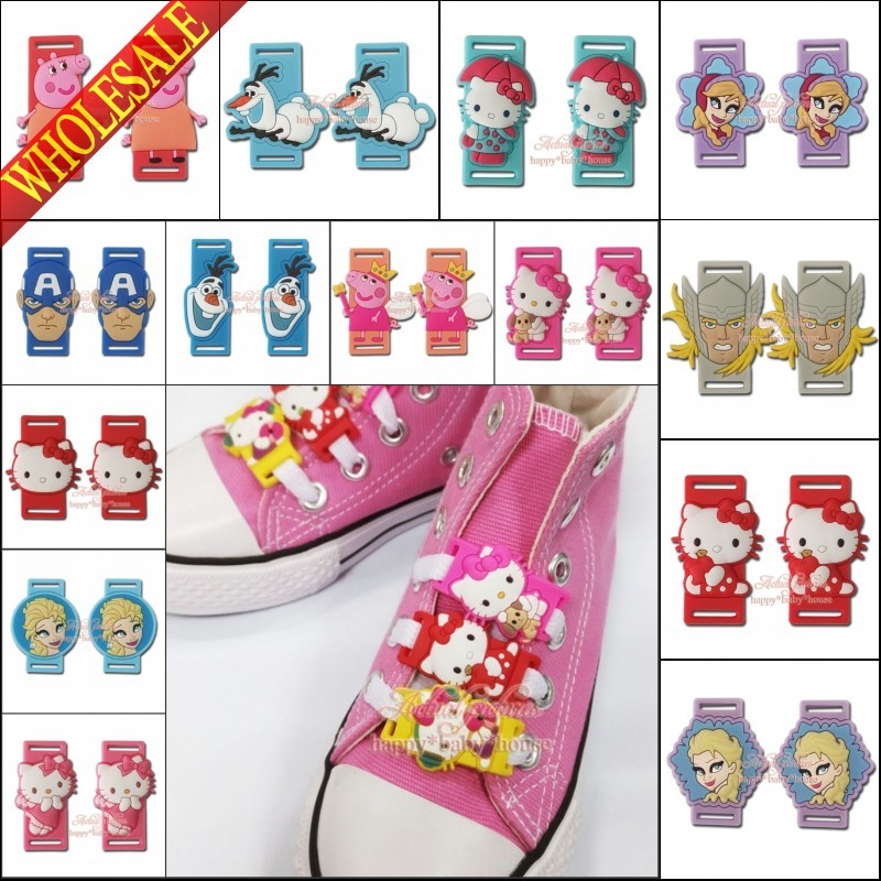 Good Quality 2PCS/SET Cute Elsa Avengers Hello Kitty Cartoon Shoelace Shoe Accssories Decorations pvc shoe buckle silicone laces(China (Mainland))
