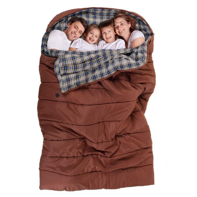 Hangout Family Sleeping Bag Double 2 3 4 Person Outdoor Camping Sleeping Bag Cotton Liner Hiking Large Family's Sleep Bags(China (Mainland))