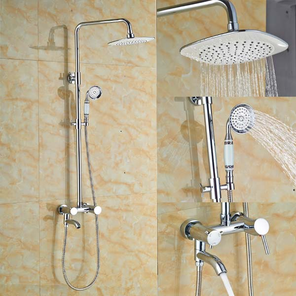 Bathroom Shower Faucet Set Tub Mixer Tap 8 Inch Shower Head and Hand Shower Chrome Finish