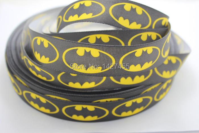 50yards/lot 1'' (25mm-26mm) black Batman Grosgrain Ribbon Super Hero Ribbon Batman Logo Grosgrain Ribbon(China (Mainland))