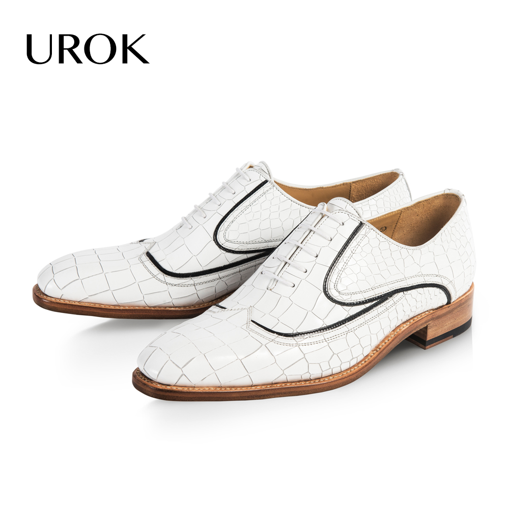 UROK Custom Made Goodyear White Men Oxford Shoes Wingtip Plain Toe Lace Up Full Grain Leather Luxury Business Men Casual Shoes(China (Mainland))