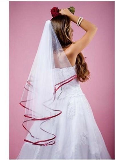 2015 новый 2 т белое свадебное фата на заказ атласная край вуаль с
