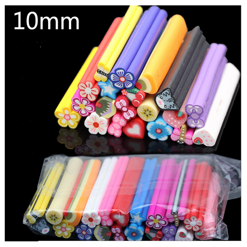 2015 10mm Large Mixed Nail Art Fimo Polymer Clay Rods for Nail Art Decorations 3d Nail Art Stickers Gel Nail Polish Accessories(China (Mainland))