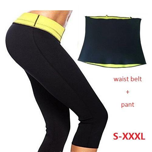 ( Pants + Waist Belt )Super stretch neoprene Sports Pants Set Women's Slimming Set Women Training Corsets Body Shaper LDJ005(China (Mainland))