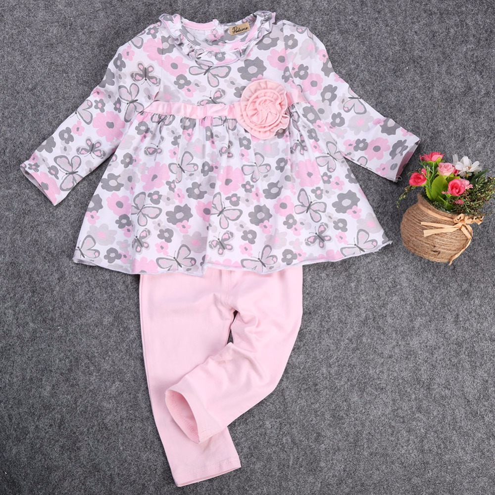 571c8f952 New 12 18 24 Months Floral Peplum Dress + Pant Outfit Baby Girl Clothes Set  2PCS