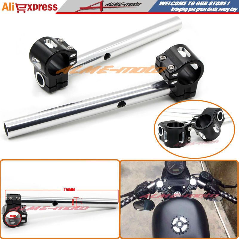 "Фотография Motorcycle CNC Billet Aluminum 39mm Fork Tubes Clip-On Handlebars 1"" Bars FOR Harley Sportster XL 883 1200 48 Dyna FXD FXDX FXDL"
