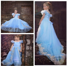 Free shipping Hot 2015 New Baby Girls Dress Princess Dress Cinderella girls Dresses Summer Costume 3-10 Age Children Clothing(China (Mainland))