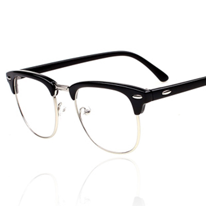 Half Frame Round Eyeglasses : 2015 New Brand Designer Glasses For Men Women Half Frame ...