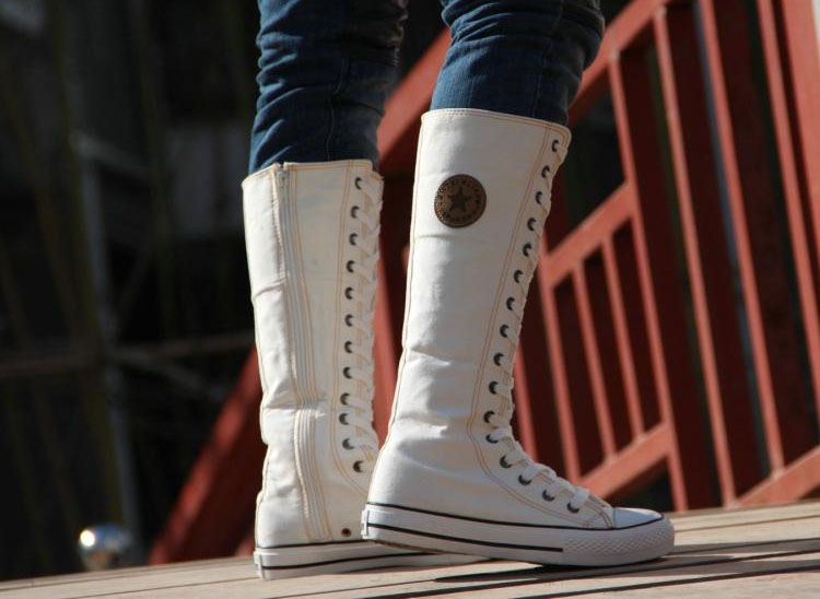 2017 Spring Autumn Fashion Women Canvas Boots Knee High Shoes Lady Motorcycle Boots,Women Flat Big Size Size 35-43 White/Black