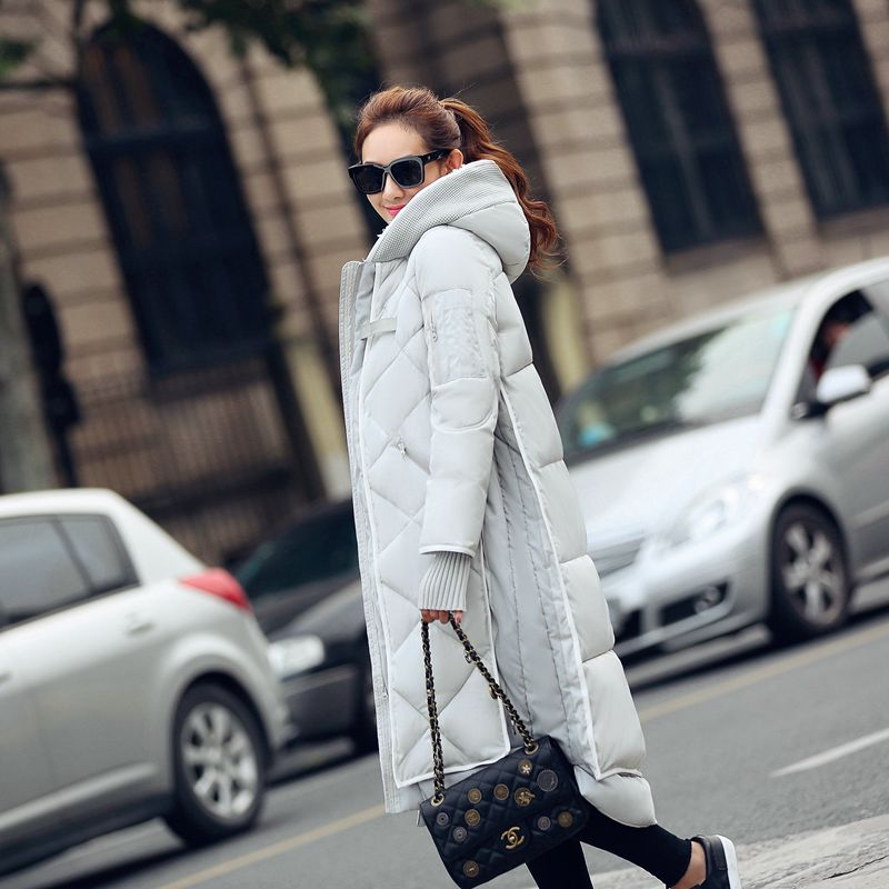 Фотография Free Shipping New Design Pocket Fashion Women Coat Long Thick Down Jacket Overcoat Female Parkas Padded Clothes