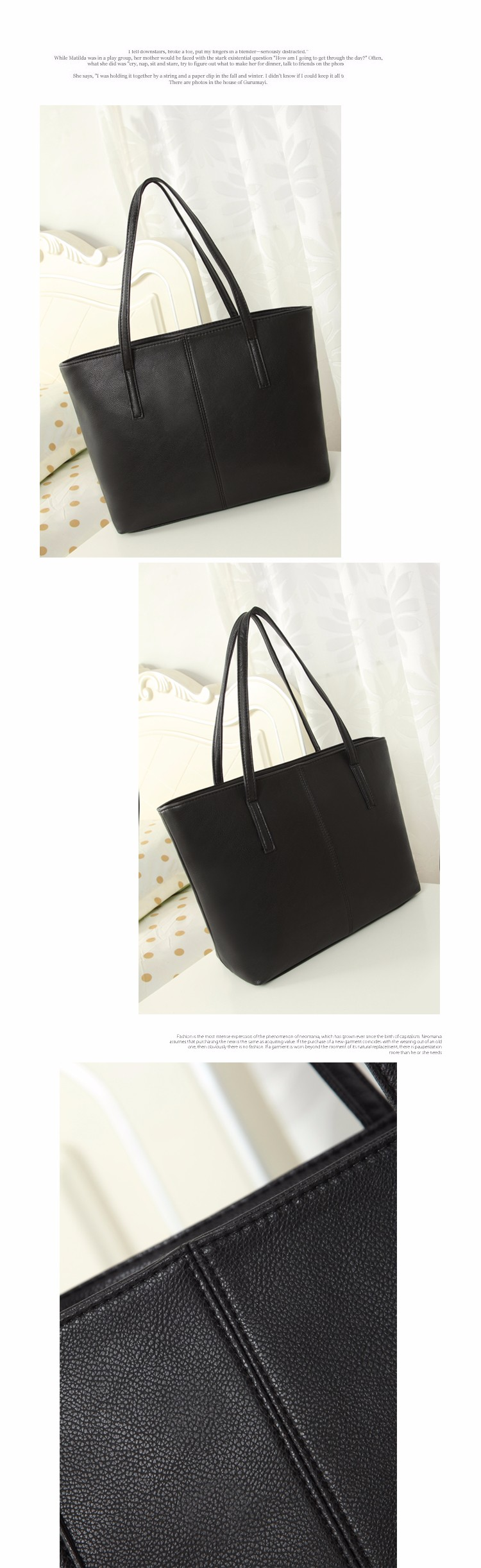 Casual Black Tote Bag Fashion PU Large Bag Women Stylish Simple Shoulder Bag Ladies Trendy Succinct Shopping Bag Handbag