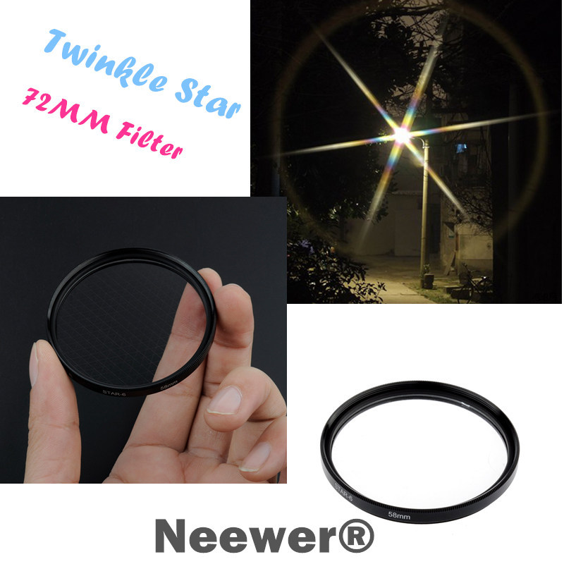 Neewer 72mm Optical 6-Point Star Cross Filter Twinkle Effect for Digital Camera Lens Free Shipping(China (Mainland))