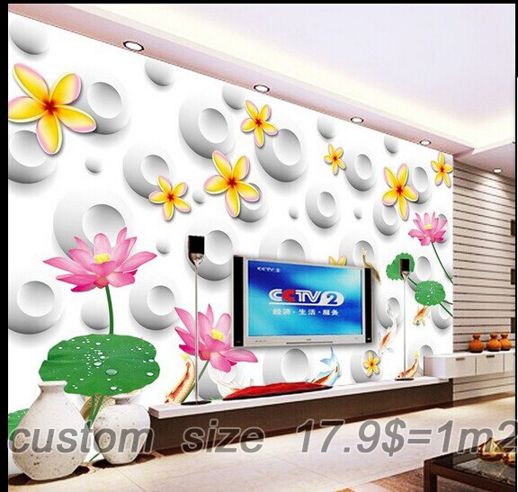 Free shipping 3D new large mural living room wallpaper / TV background wall / sofa background Flowers Hotel custom size(China (Mainland))
