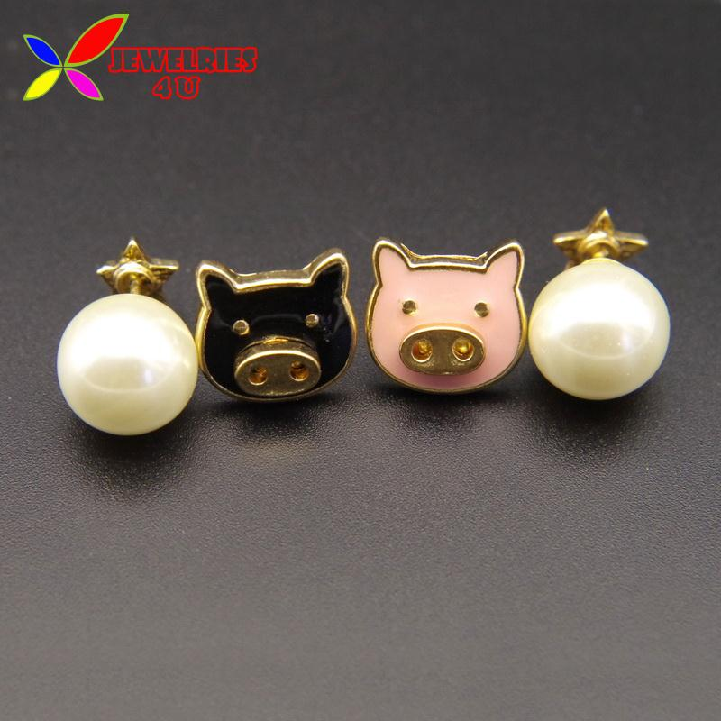 Women's Animal Earrings Fashion Lovely Pink Black Pig Faux Pearl Star Mix-matched Earring Studs For Woman Brincos Grandes(China (Mainland))