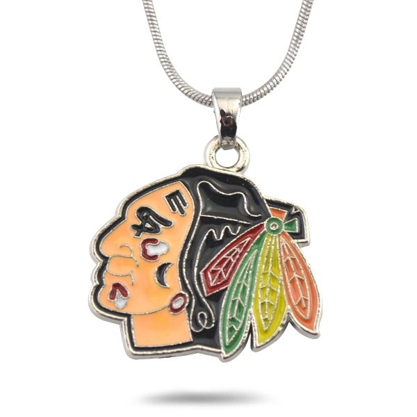 Chicago Blackhawks Logo Necklace Native American Indian Warrior Pendant Fashion Jewelry(China (Mainland))