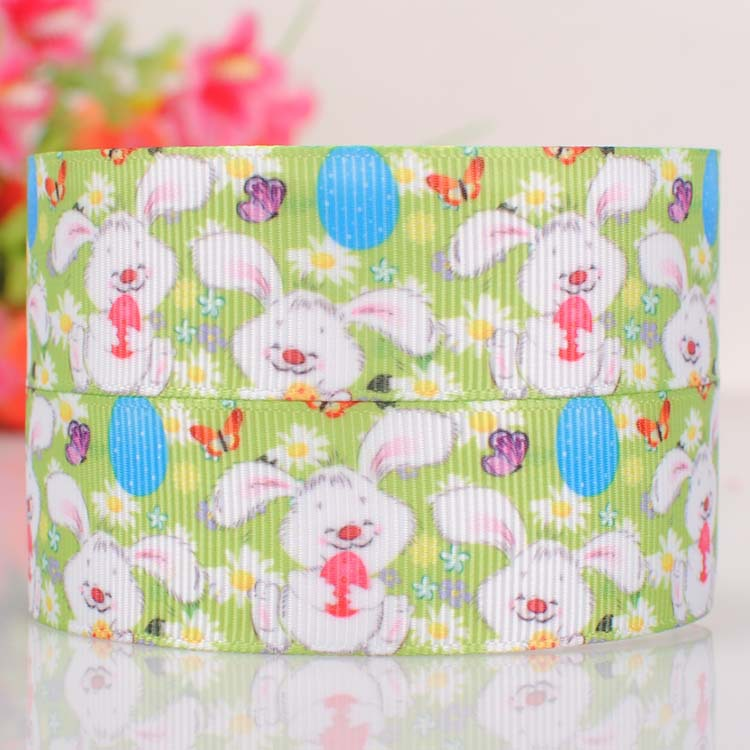 """10yards 7/8"""" (22mm) New Green color Easter Rabbit gift ribbon,Easter Day flower cartoon rabbit gift ribbon(China (Mainland))"""