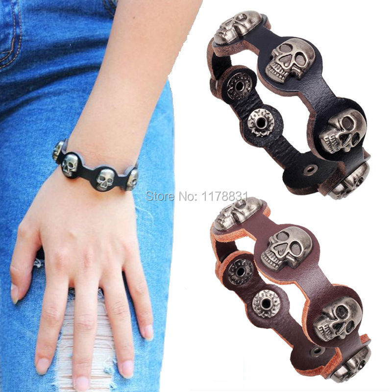 2015 Christmas Gifts Jewellery Cool Men Woman Skull Wristband Bracelet Punk Rock Genuine Leather With Black/Brown(China (Mainland))