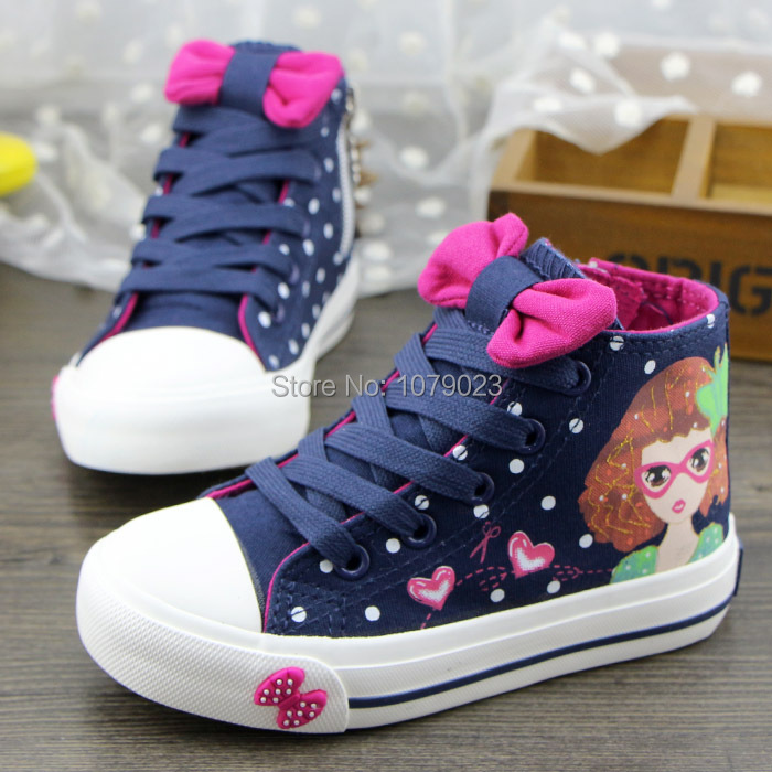 summer new fashion high-top canvas shoes for girls,Children's casual cartoon lace flats kids sneakers outlet with size 25-37(China (Mainland))