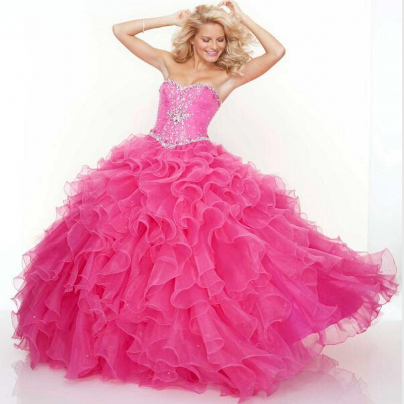Brand New Stock Cheap Quinceanera Dresses Ball Gowns 2017 Organza Tiered Beading Dress 15 Years Vestidos De Anos Curto W44 - Bealegantom Wedding Flagships Store store