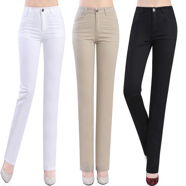 Женские Летние и осенние высокого эластичный пояс повседневные брюки женские пятидесятилетний ...