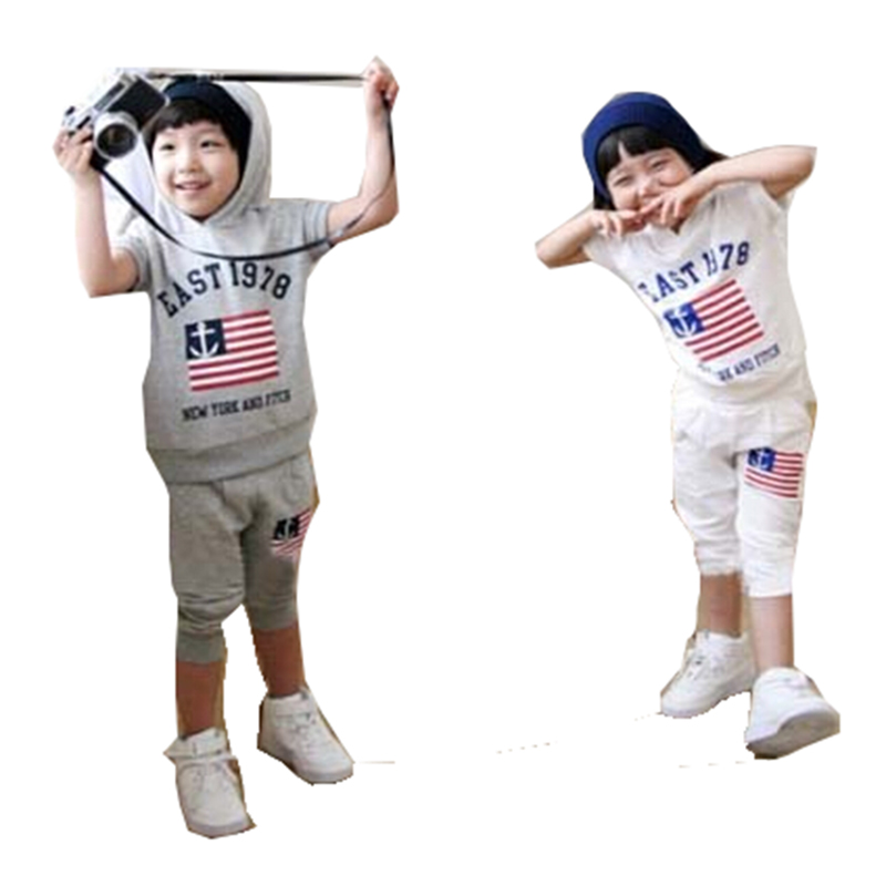 Hot Sale New Multicolor Summer Short-sleeve T-shirt Girls Boys Children Clothing Set Hoodies Pants Kids Tracksuit(China (Mainland))