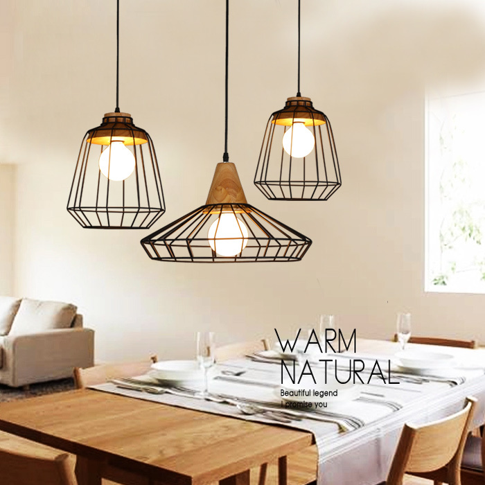 buy retro loft lustre pendant lights vintage industrial cage pendant lamps bar. Black Bedroom Furniture Sets. Home Design Ideas