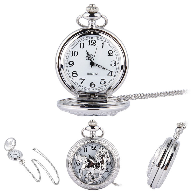 Fashion Silver Horse Hollow Quartz Pocket Watch Chain Pendant Necklace for Women Men Gifts ~M24(China (Mainland))