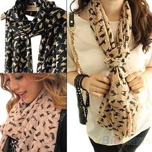 New Fashion Women's Chiffon Colorful Sweet Cartoon Cat Kitten Scarf Graffiti Style Shawl Girls Gift Free Shipping