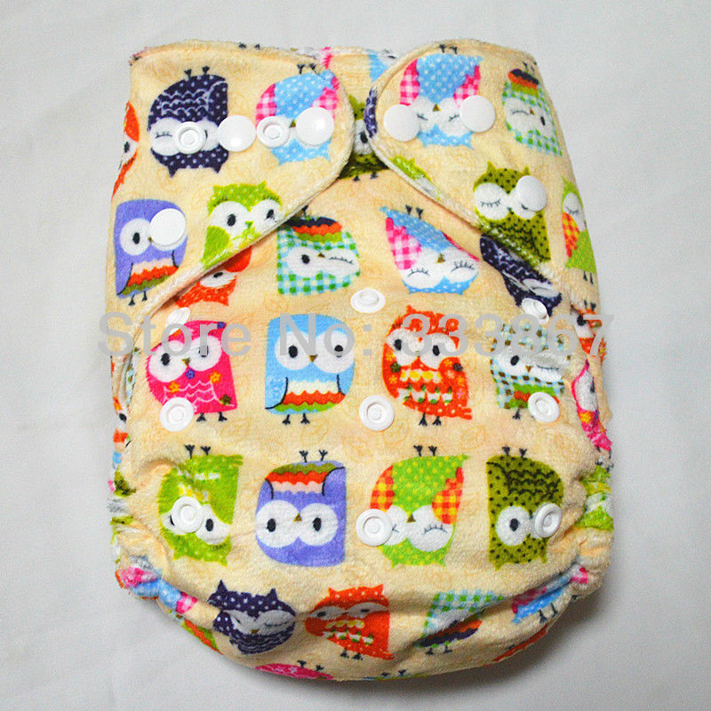 New IMPROVED Baby Infant 1 Cloth Diaper +1 Insert,Yellow Owl Print, Minky Soft, Reusable Adjustable, Good Quality(China (Mainland))