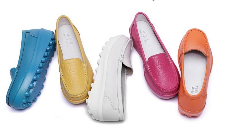 Women's leather shoes New 2016 Women Genuine Leather Flat Platform Shoes Women Fashion Print Flats Women Comfortable Loafers