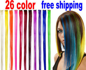 NEW fashion 26 color Colorful Clip on Long Solid Color Synthetic Clip In Party Highlights Hair Extensions STREAKS FF1210-30