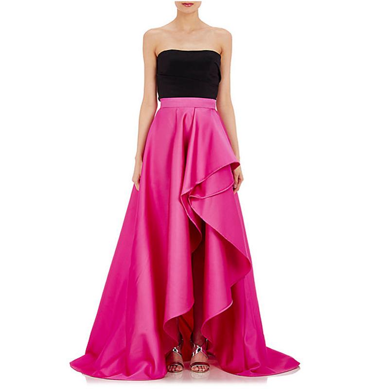 Vintage Fuchsia High Low Taffeta Long Skirts For Elegant ...