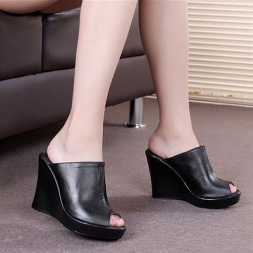2015 new fashion Women leather sandals wedges with Women high heeled shoes fish head black platform