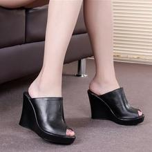 2015 new fashion Women leather sandals wedges with Women high-heeled shoes fish head black platform shoes large size 33-41