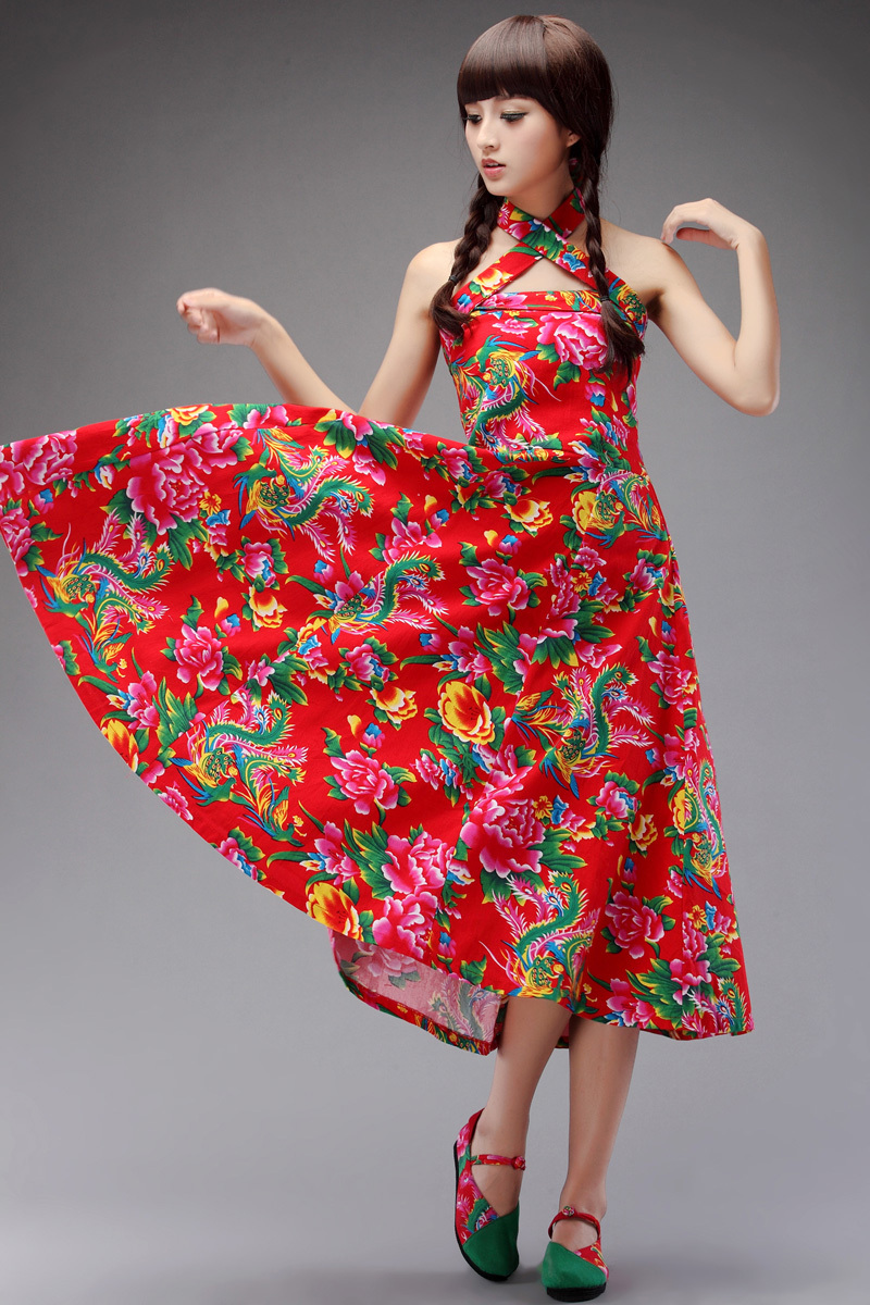 2014 Cloth original design trend women national slit neckline strapless dress chinese style fancy - iGem store
