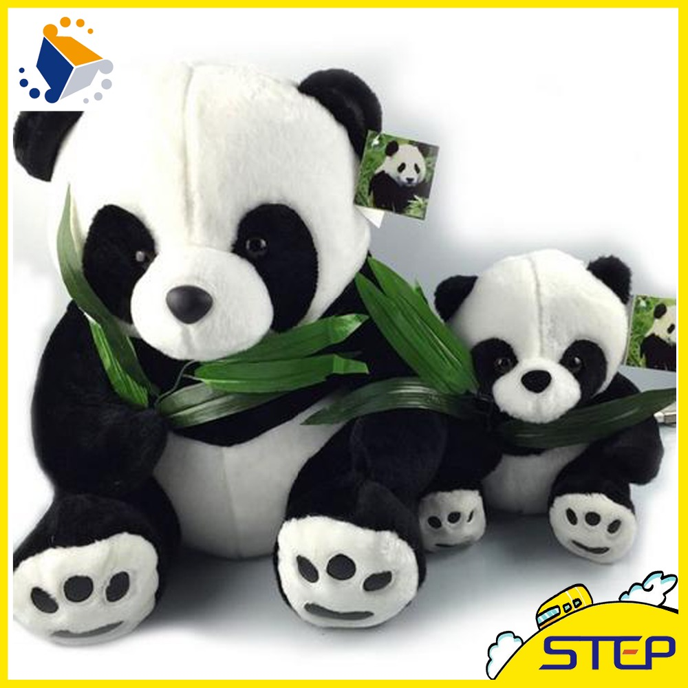 40CM Giant Panda Plush Toys Sitting Eat Bamboo Panda Dolls Soft Stuffed Toy Gifts For Girls Kids Best Price High Quality ST30(China (Mainland))