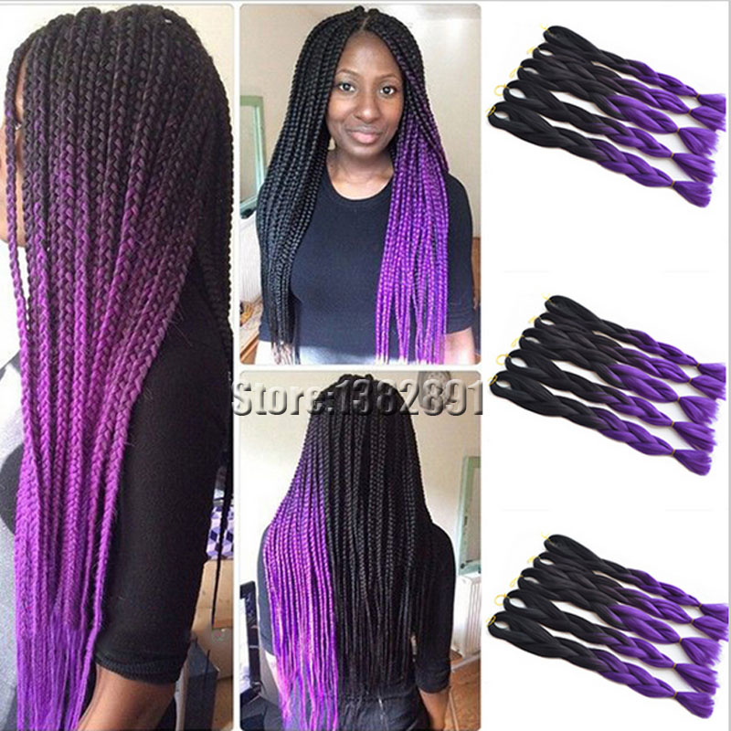 Purple Synthetic Hair Extensions Human Hair Extensions