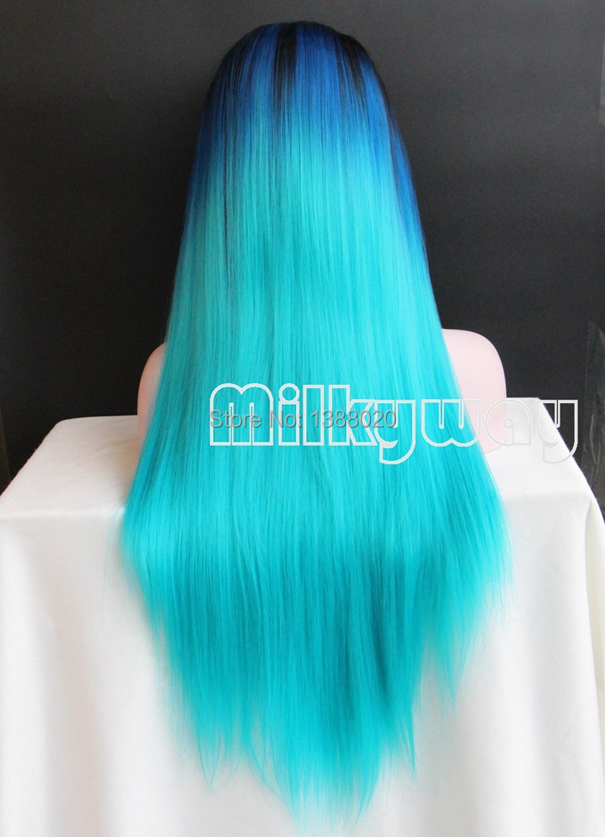 Free Shipping heat resistant Glueless silky straight 1bT blue green hair three tone turquoise ombre synthetic lace front wig(China (Mainland))