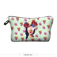 Mini small cell phone bag 3D Printing hipster girls travel Women's Cosmetic bag & cases Cute Handbags zipper makeup storage bag