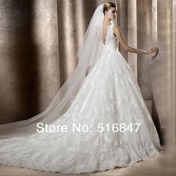 2015 New Style White/Ivory Lace Long A-Line Tank V-neck Sleeveless Beaded Bridal Gown Wedding Dresses Custom Size AM-033 - Angel matchmaker marriage supplies store