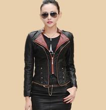 2016 spring and autumn short women jacket leather clothing outerwear women's leather jacket slim medium-long women coat lady(China (Mainland))