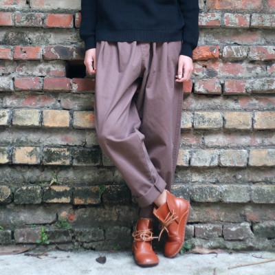 Women Cotton Pants Solid Color Cargo Female autumn Twill cotton Retro carrot Trousers Harem Loose - Rainyee Store store