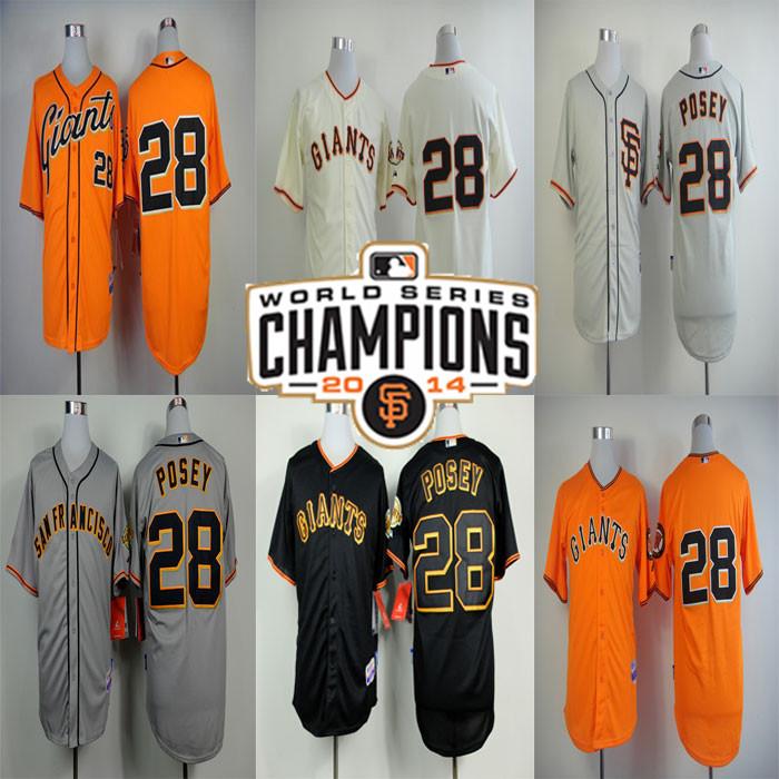 #28 Buster Posey Jersey San Francisco Giants Baseball Jersey Sports Jerseys W/2014 Champion patch Embroidery Logos(China (Mainland))