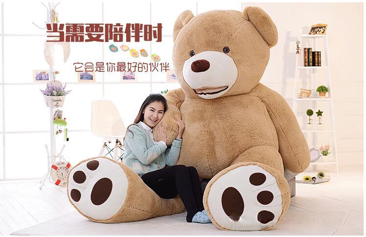 "2016 Free Costco 93"" inch Plush Bear Soft Giant Teddy Bear PP Cotton Huge Stuffed Bear Brown Snuggle Bear Plush Chrismas Gift(China (Mainland))"