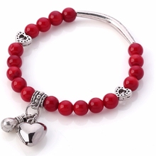 Women Charm Bracelet Jewelry Natural Red Coral Bracelet with Tibetian Silver Heart Pendant(China (Mainland))